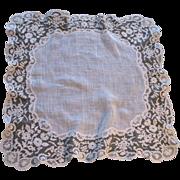 Antique LARGE French Brussels Wedding Bridal LACE Handkerchief Hankie DIVINE!