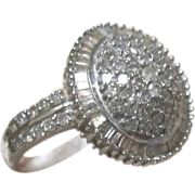 Vintage ADORABLE DECO Ring 10k Gold 1ct Diamonds Cluster And Baguettes 6.5!