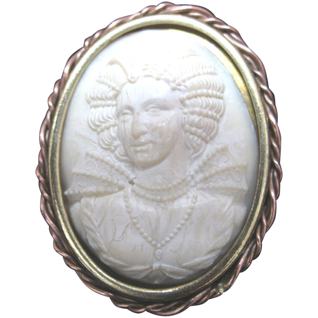 Vintage 40s 50s Large FRENCH Cameo Carved Celluloid Rare RENAISSANCE Portrait!