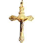 Antique Edwardian Religious French Cross Crucifix Pendant Souvenir De MISSION ORNATE!