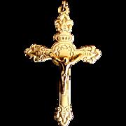 Antique Edwardian Religious French Cross Crucifix Pendant Souvenir De MISSION ORNATE!