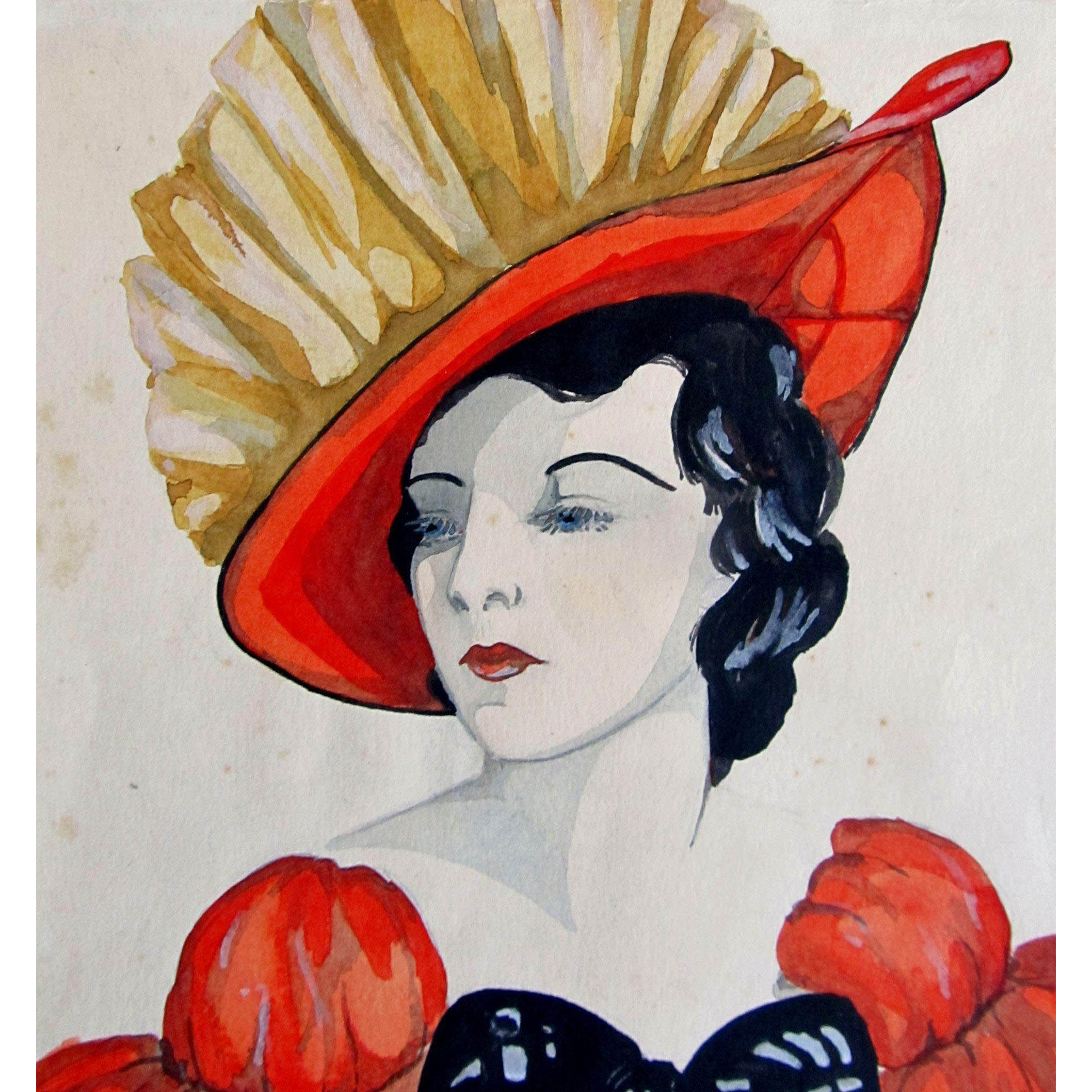 Vintage 30s Art DECO Watercolor Painting Portrait of LADY in Red GLAMOROUS!