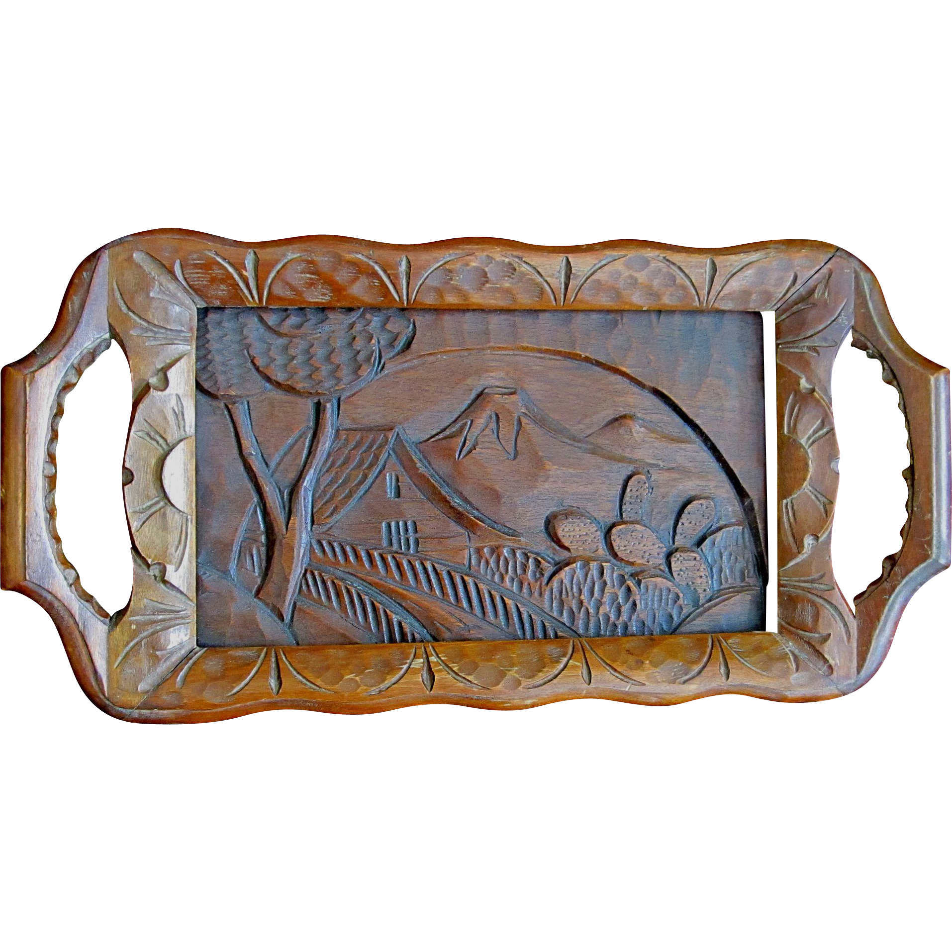 Vintage 50s Mexican Folk Art Wooden Tray Hand Carved Figural Volcano Cactus House Very RARE!