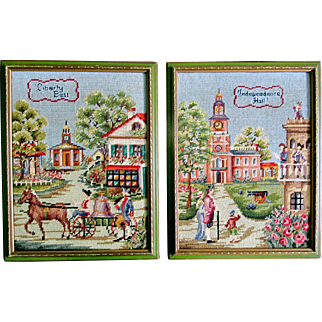 Pair Vintage 50s Tapestry Cross Stitch Embroidery AMERICANA Framed Complete EXQUISITE!