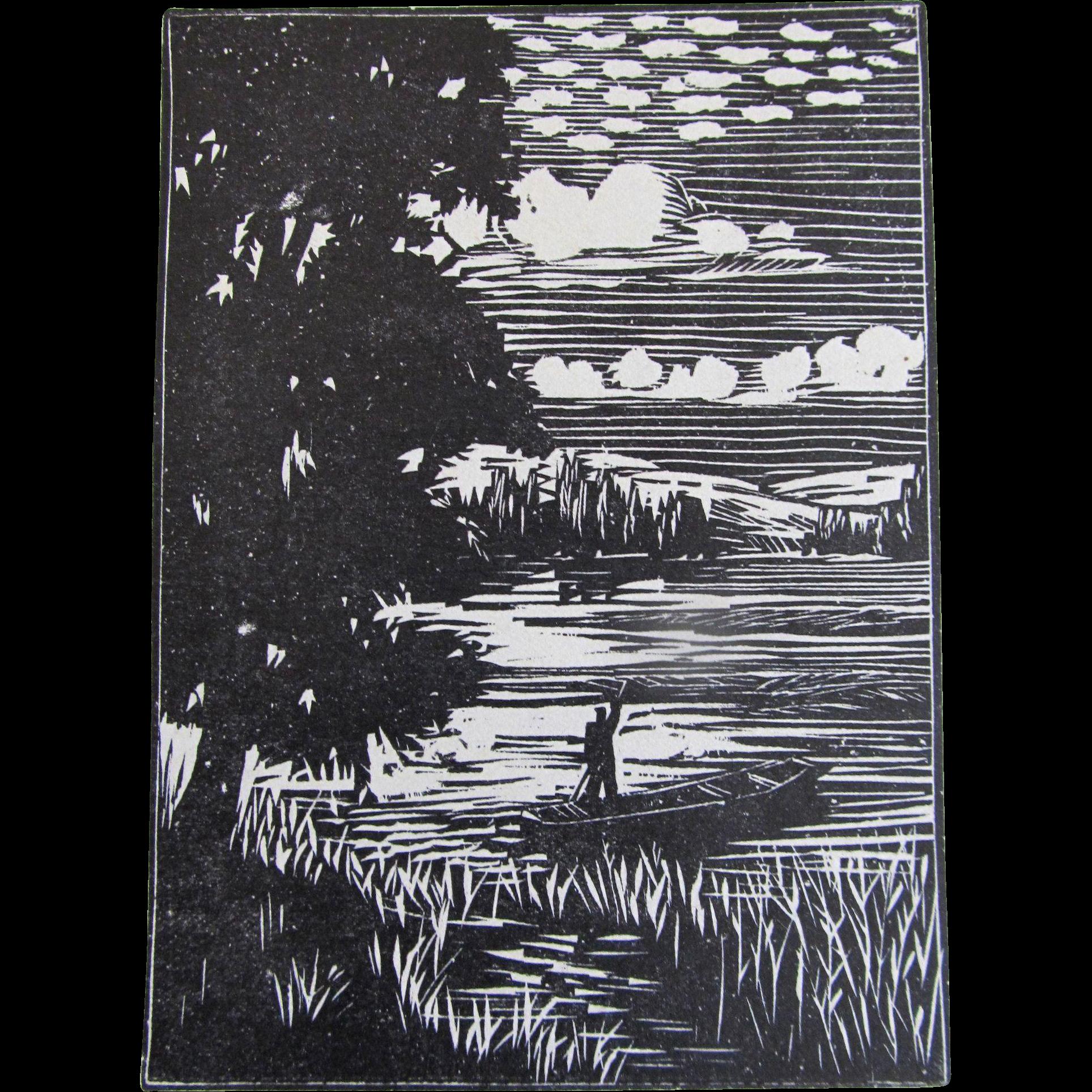 Vintage French Art DECO Print Woodcut 20s DROUART 2 LISTED Artist!