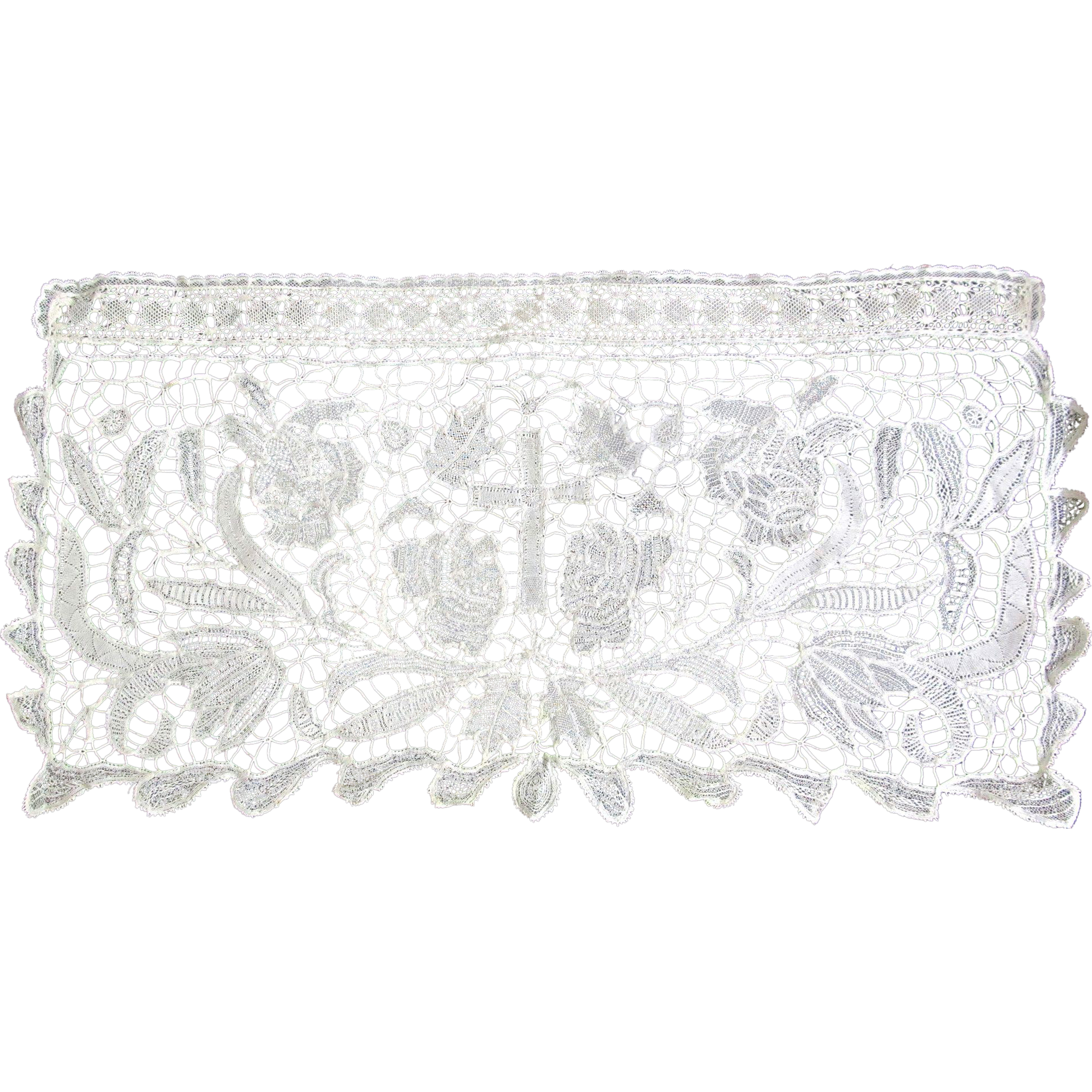 Antique Religious French Napoleon III Altar Lace Piece EXTRAORDINARY!