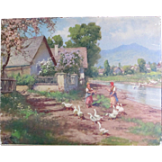 Antique Edwardian LARGE Chromolithograph Idyllic FARM Blossoms Geese Ladies TO DIE FOR!