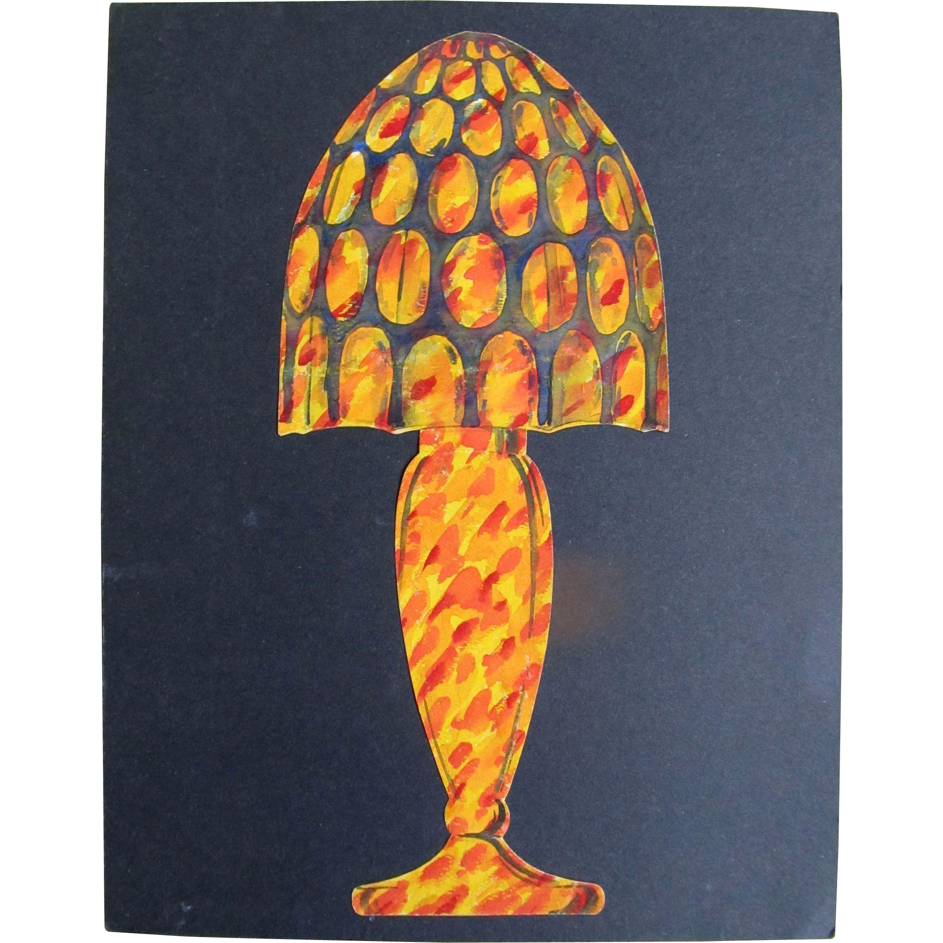 Vintage 20s French ART DECO Original Watercolor Painting Lamp Design WOW!