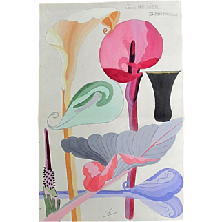 Vintage French ART DECO Watercolor Painting LARGE 30s Streamlined Flowers Lilies BEAUTIFUL!