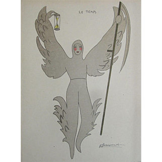 French Art Deco 20s Print Angel of Time Signed So RARE And DELICATE!