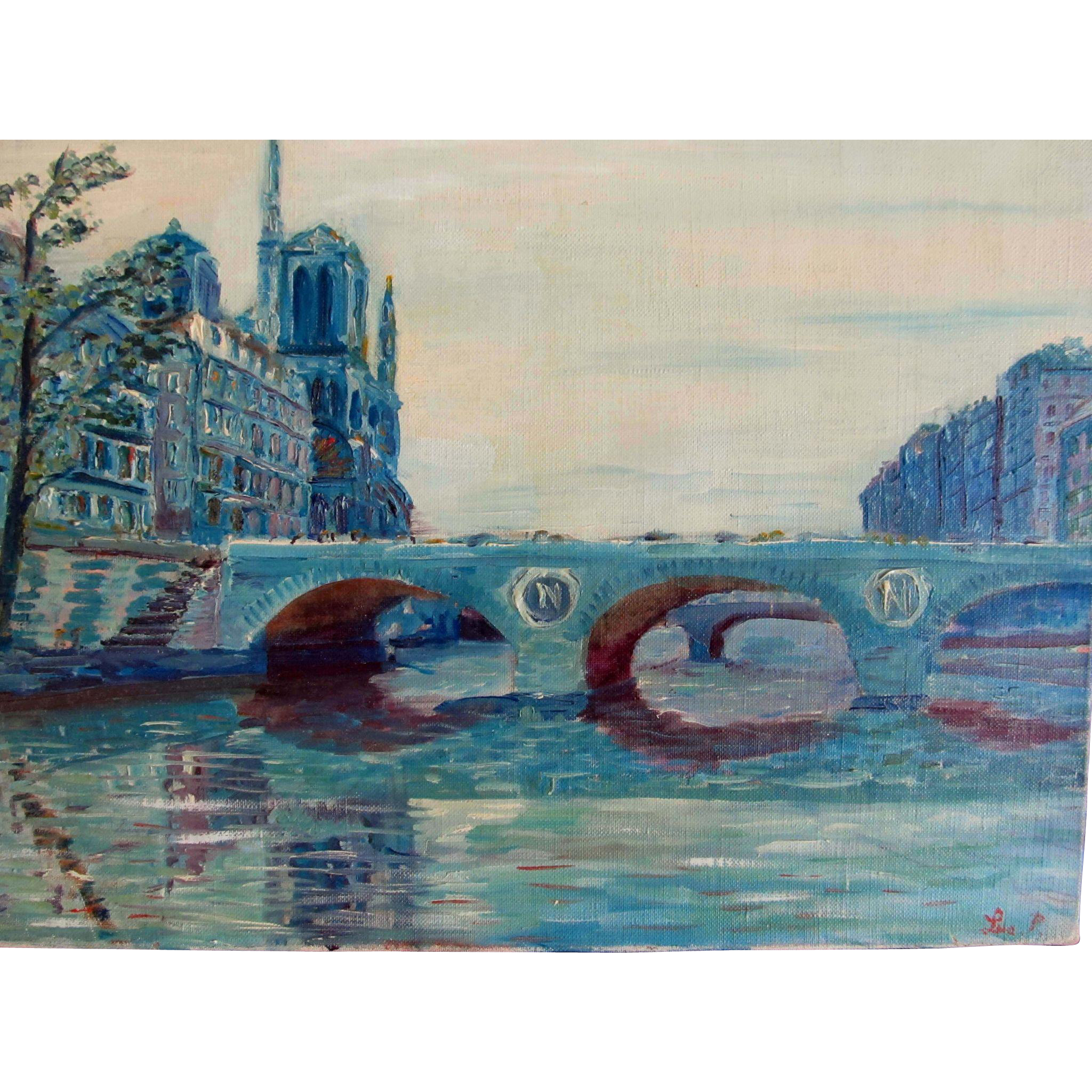 Vintage French Painting PARIS Blue RIver Napoleon Bridge Notre Dame Signed ELEGANT And POETIC!