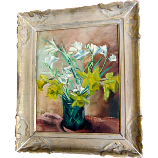 Vintage 50s French FLORAL Painting MODERNIST Spring Flowers Framed Signed MAGNIFICENT!