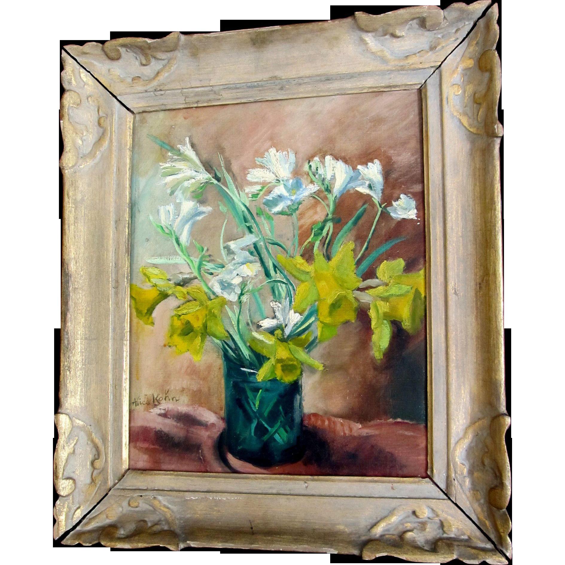 Vintage 50s French FLORAL Painting MODERNIST Spring Flowers Framed Signed MAGNIFICENT!