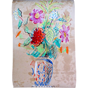 Vintage 30s Fantastic French FLORAL Watercolor Painting Raoul DUFY Like!