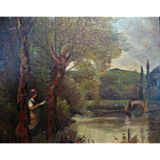 Antique French Edwardian Oil Painting LADY By The Lake Signed TO DIE FOR!