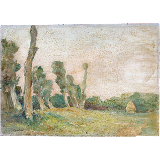 Antique French IMPRESSIONISTIC Oil Painting 1880 NORMANDY Landscape Signed RARE!