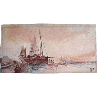 Antique SEASCAPE Marine Watercolor Painting Boats VENICE Harbor Signed ELEGANT and RARE!