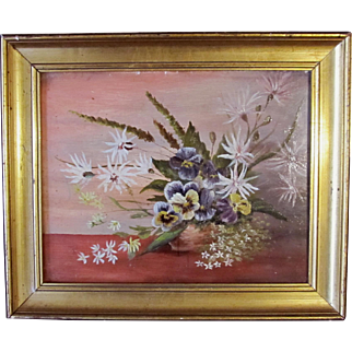 Antique EDWARDIAN Small French FLORAL Oil Painting RARE Colors Flowers A GEM!