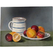 Antique EDWARDIAN French Still Life Pastel Painting Jug Lemon Apples Signed DIVINE!