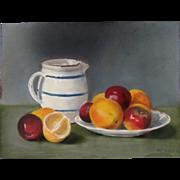 Antique EDWARDIAN French Still Life Pastel Painting Jug Lemon Apples Signed DIVINE!
