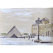 PARIS in the Snow Ink Drawing with Watercolor Le Louvre Pyramid Castle Signed EXQUISITE!