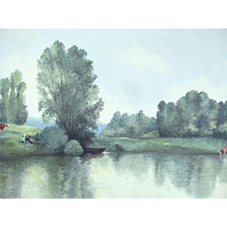 Authentic French IMPRESSIONISTIC Painting 1880s Landscape Couple Lake LARGE Signed RARE!