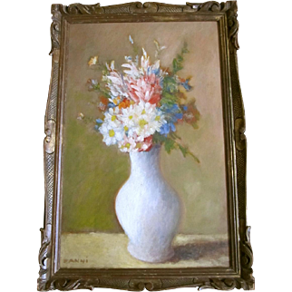 Antique Edwardian FRENCH Floral Painting Bouquet Flowers Signed Oil FANTASTIC!