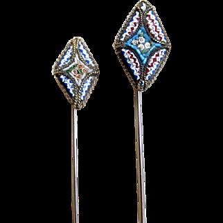 Pair vintage 50s micromosaic micro mosaic stick pins Man Woman Very CHARMING!