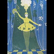 1916 Art DECO Print Singer Dancer Signed Dated FANTASTIC!