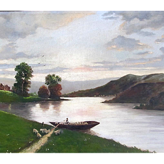 Antique 19th C FRENCH Oil Painting SHEEP Crossing River at Dusk SIGNED Dated ADORABLE Scene!