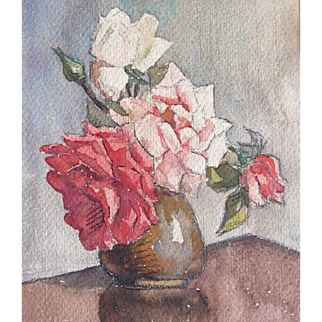 Vintage FRENCH Floral Watercolor Painting Bouquet ROSES Signed DELIGHTFUL!