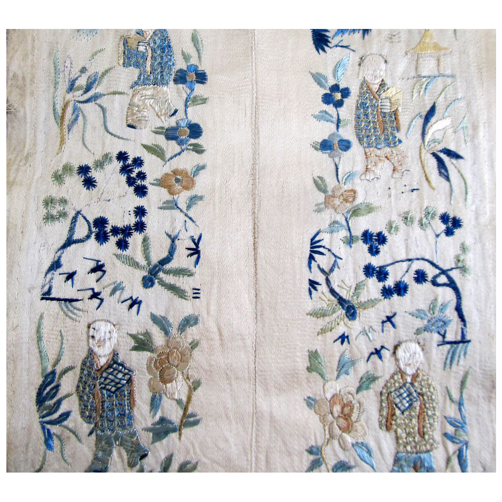 Antique Chinese Qing Embroidery Panels Sleeves Sleevebands 19th C  DIVINE!
