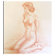 Vintage Art Deco LARGE French NUDE Drawing Sanguine Sepia 20s 30s SUMPTUOUS!