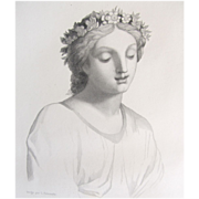 Antique French Engraving Print MUSE 19th C Piece in British MUSEUM!