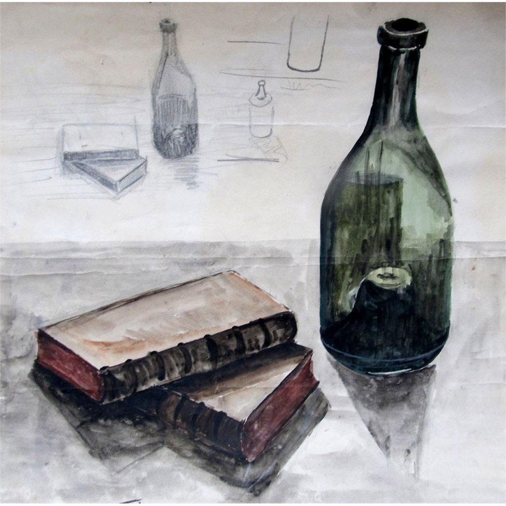 Vintage Mid Century French Watercolor Painting Still Life WINE Bottle Signed Noir ATMOSPHERE!