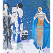 Vintage 20s Small French Art Deco Print with Watercolor Ladies on the Riviera EXQUISITE!