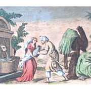 Antique 18th C Century French Religious Print Engraving With Watercolor 2 REBECCA At The Well EXCEPTIONAL!