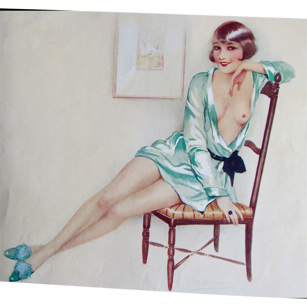 Vintage 30s French Art Deco NUDE SIGNED Print Risque RARE!