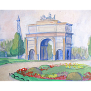 Vintage 50s PARIS Watercolor Painting Tuileries Le Louvre Eiffel Tower SIGNED EXQUISITE!