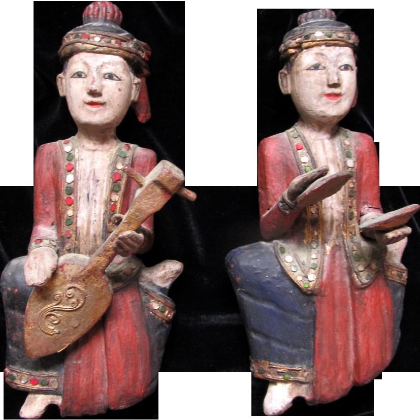 PAIR Vintage Burmese Burma Statues Carvings Sculptures MUSICIANS FABULOUS!