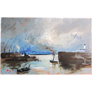 Vintage French Seascape Marine Mid Century Marseille Harbour Oil Signed FANTASTIC!