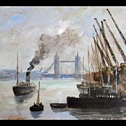 Vintage LONDON Seascape Harbor Mid Century Marine Oil Signed DIVINE!