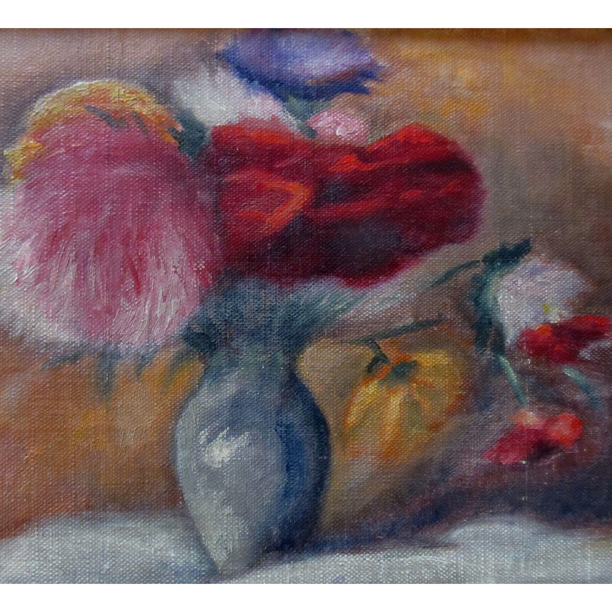 Vintage 1950s French FLORAL Painting Flowers Bouquet Small Oil Signed RARE QUALITY!