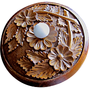 Vintage 50s Country FRENCH Folk Box CARVED Turned Wood Porcelain Knob Super CHARMING!