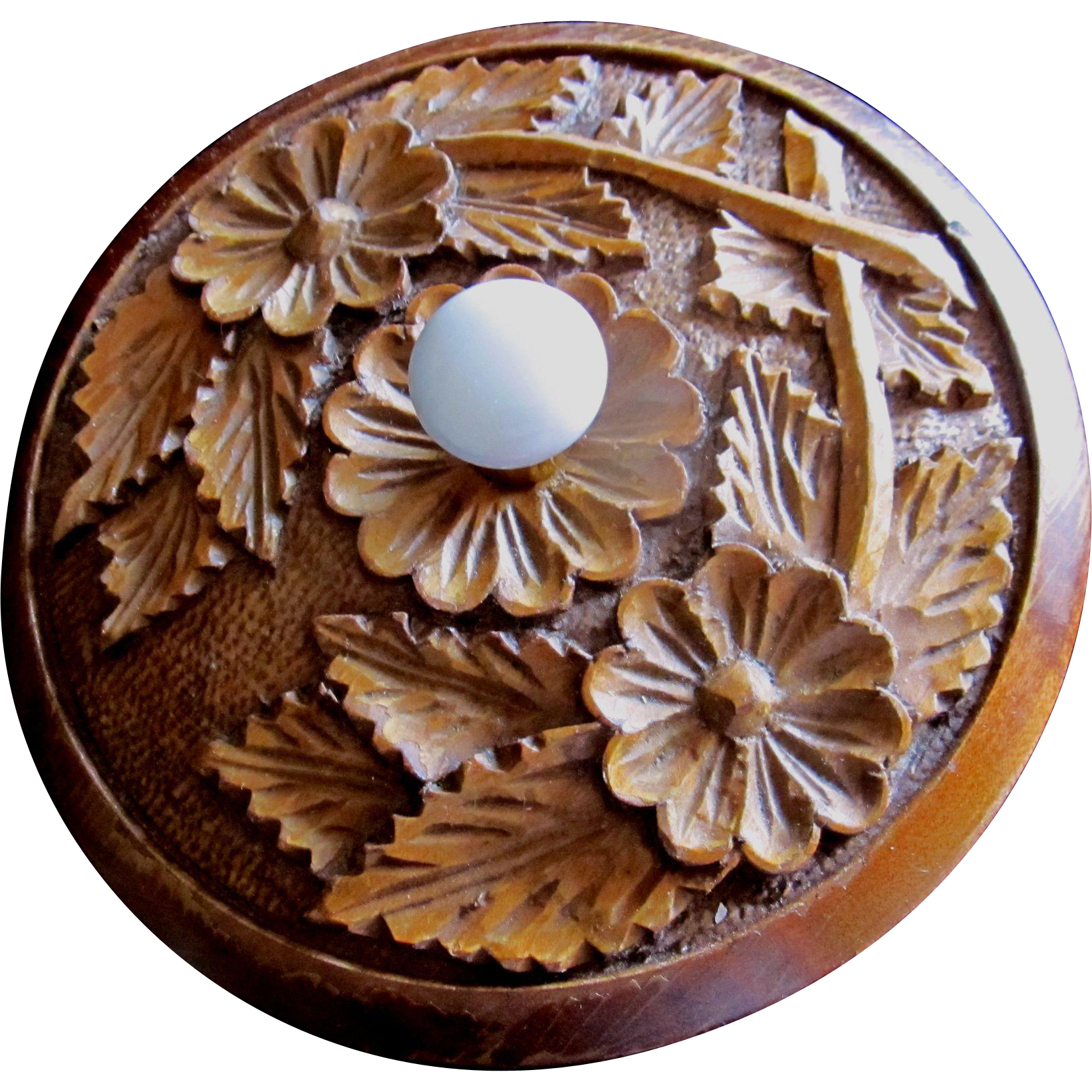 Vintage 60s FRENCH Folk Art Box CARVED Turned Wood Porcelain Knob Flowers Super CHARMING!