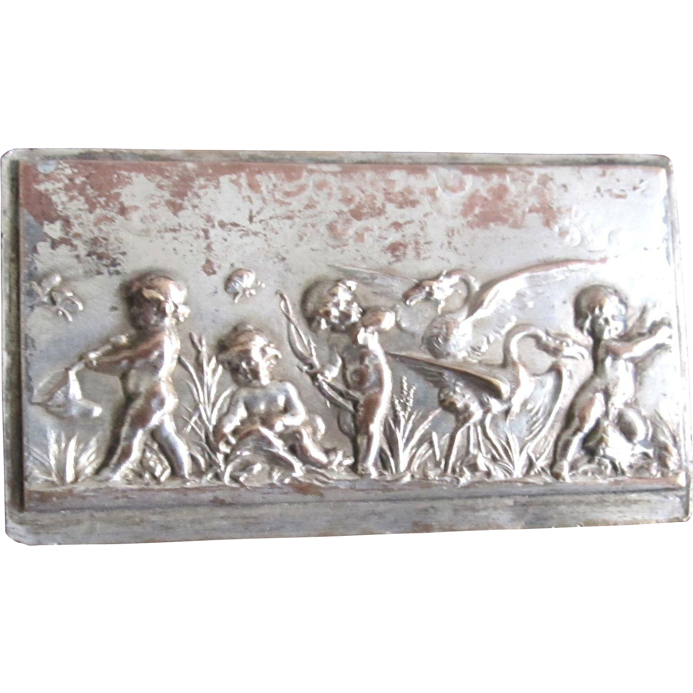 Vintage 1920s FRENCH Pin With PUTTI Silver Overlay Large RARE!