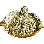 Vintage 70s French Bronze Ashtray Roman Head Eagle Armor Crown Tobacciana RARE!