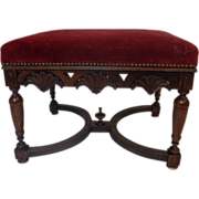 19th Century French Antique Walnut Stool