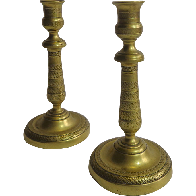 Pair of 19th Century French Antique Candleholders
