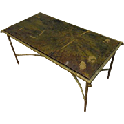 Art Deco Faux Bamboo Bronze Coffee Table